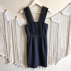 Lulu's Black Crochet Lace Sleeveless Bodycon Dress